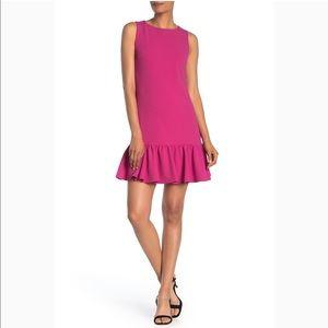 Betsey Johnson Pink Ruffle Hem Shift Dress